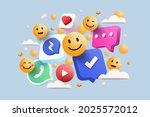 3d social media platform ... | Shutterstock .eps vector #2025572012