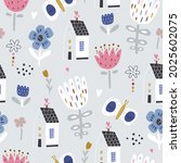 seamless childish pattern with... | Shutterstock .eps vector #2025602075