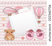 baby girl shower card. arrival... | Shutterstock .eps vector #202560706
