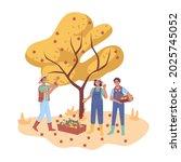 autumn harvesting  happy... | Shutterstock .eps vector #2025745052