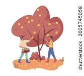 people work on plantation... | Shutterstock .eps vector #2025745058