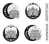 half moon and lotus flower...   Shutterstock .eps vector #2025757262