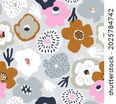 seamless bold floral pattern in ... | Shutterstock .eps vector #2025784742