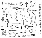 hand drawn arrows set made in... | Shutterstock .eps vector #202580422