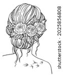 coloring book for adults. girl... | Shutterstock .eps vector #2025856808