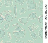 seamless pattern with cute... | Shutterstock .eps vector #202587322