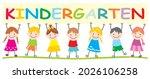 kindergarten  seven happy kids...   Shutterstock .eps vector #2026106258