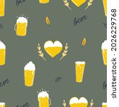 seamless pattern with beer mugs ... | Shutterstock .eps vector #2026229768