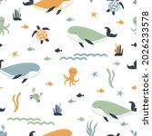 seamless pattern with whales ... | Shutterstock .eps vector #2026233578
