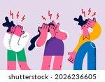 loud sounds  irritation ...   Shutterstock .eps vector #2026236605