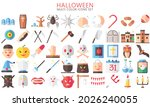 halloween multi color icons set ...