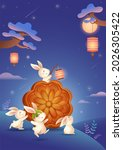 mid autumn festival. rabbits in ... | Shutterstock . vector #2026305422
