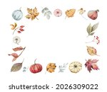 watercolor autumn frame with... | Shutterstock . vector #2026309022
