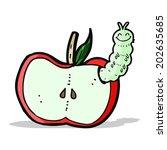 cartoon apple with bug | Shutterstock . vector #202635685