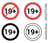 19 nineteen plus round sign... | Shutterstock .eps vector #2026374782