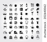 food icons set. black vector. | Shutterstock .eps vector #202640062