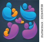 vector set of people  family... | Shutterstock .eps vector #202643938