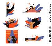 cute peeping cartoon characters ... | Shutterstock .eps vector #2026452932