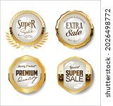 collection of golden badges and ... | Shutterstock . vector #2026498772