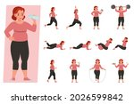 set of fat woman with...   Shutterstock .eps vector #2026599842