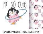 Cute Animal Baby Penguin Happy...