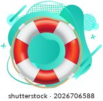 lifebuoy red and white life...   Shutterstock .eps vector #2026706588