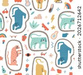 funny and joyful contemporary... | Shutterstock .eps vector #2026712642