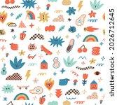 funny and joyful contemporary... | Shutterstock .eps vector #2026712645