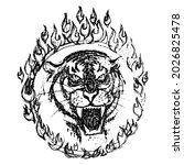 tiger head through flaming hoop.... | Shutterstock .eps vector #2026825478