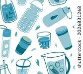 drinking water seamless pattern ... | Shutterstock .eps vector #2026831268