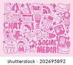 doodle communication background | Shutterstock .eps vector #202695892