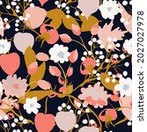 seamless pattern with autumn... | Shutterstock .eps vector #2027027978