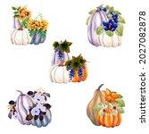 Watercolor Autumn Pumpkins And...