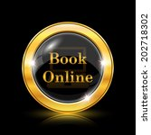 golden shiny glossy icon on... | Shutterstock .eps vector #202718302