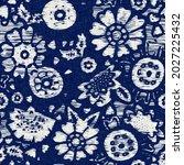 indigo dyed fabric flower... | Shutterstock . vector #2027225432