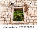 Empty Window On A Stone Wall Of ...
