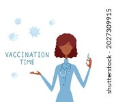 woman doctor and covid 19... | Shutterstock .eps vector #2027309915