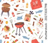 seamless pattern with food for... | Shutterstock .eps vector #2027333798