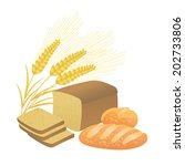 bread and ears of wheat on a... | Shutterstock .eps vector #202733806