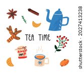 tea time cute set with hand...   Shutterstock .eps vector #2027413238