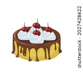 vanilla cake topped with... | Shutterstock .eps vector #2027428622