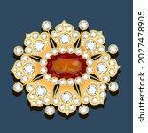 illustration gold brooch with ... | Shutterstock .eps vector #2027478905