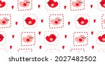 seamless pattern with birds and ... | Shutterstock .eps vector #2027482502