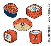 cartoon sushi vector... | Shutterstock .eps vector #2027508278