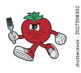 vector cartoon tomato character ... | Shutterstock .eps vector #2027508302