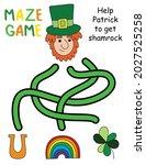 patrick day maze game activity... | Shutterstock .eps vector #2027525258