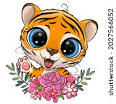 cute cartoon tiger with flowers ... | Shutterstock .eps vector #2027566052