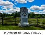 Photo of the Monument Dedicated to Companies E and H, Second United States Sharpshooters, Gettysburg National Military Park, Pennsylvania USA