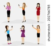 women taking a selfie  ... | Shutterstock .eps vector #202766785