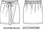 vector wrapped skirt with belt... | Shutterstock .eps vector #2027690588